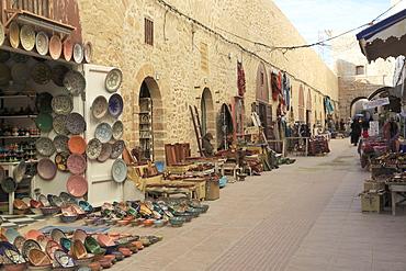Artisans Market below ramparts, Medina, UNESCO World Heritage Site, Essaouira, Morocco, North Africa, Africa