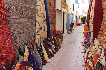 Carpets for sale in the Souk, Medina, UNESCO World Heritage Site, Essaouira, Morocco, North Africa, Africa