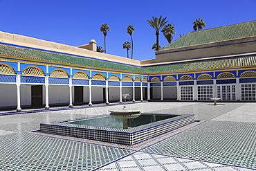 Courtyard, Bahia Palace, UNESCO World Heritage Site, Marrakesh (Marrakech), Morocco, North Africa, Africa