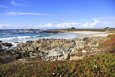 Rocky coastline, 17 Mile Drive, Pebble Beach, Monterey Peninsula, Pacific Ocean, California, United States of America, North America
