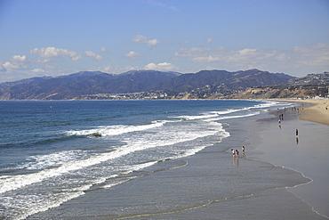 Beach, Santa Monica, Pacific Ocean, Malibu Mountains, Los Angeles, California, United States of America, North America