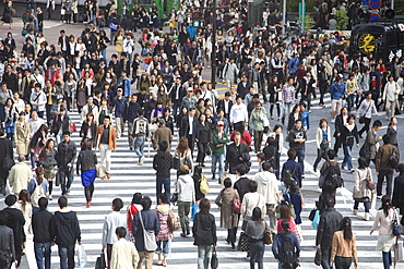 Shibuya Crossing, world's busiest crosswalk, Shibuya, Tokyo, Japan, Asia