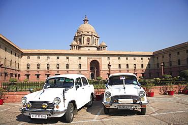 Ambassador cars, Secretariat North Block, offices for government ministers, New Delhi, India, Asia