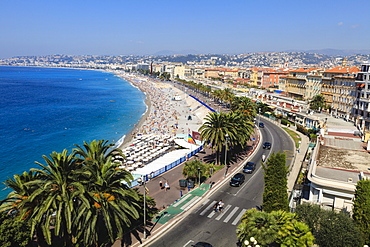 Baie des Anges and Promenade Anglais, Nice, Alpes-Maritimes, Provence, Cote d'Azur, French Riviera, France, Europe