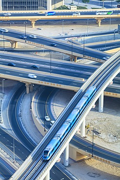 Road interchange and Metro train, Dubai, United Arab Emirates, Middle East