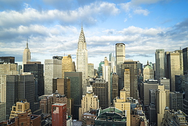 Manhattan skyscrapers including the Empire State Building and Chrysler Building, Manhattan, New York City, New York, United States of America, North America