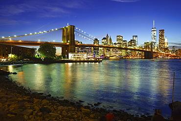 Brooklyn Bridge and Manhattan skyline at dusk from Brooklyn Bridge Park, New York City, New York, United States of America, North America