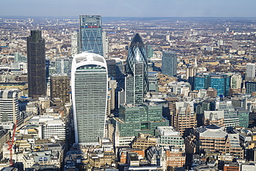 Elevated view of skyscrapers in the City of London's financial district, London, England, United Kingdom, Europe