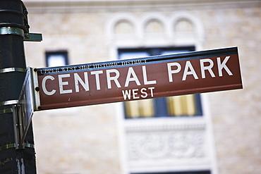 Central Park signpost, Manhattan, New York City, New York, United States of America, North America