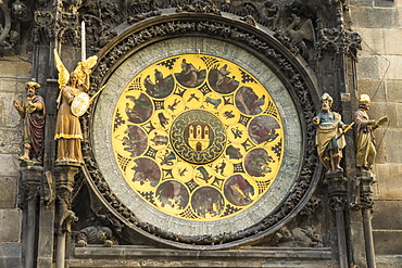 Detail of the Astronomical Clock, Old Town Hall, UNESCO World Heritage Site, Prague, Czech Republic, Europe