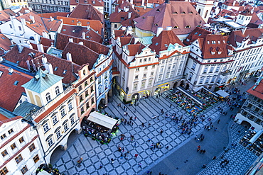 Looking down on Old Town Square, UNESCO World Heritage Site, Prague, Czech Republic, Europe