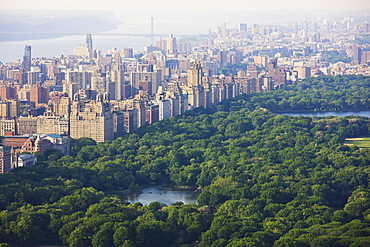 High angle view of Central Park and the Upper West Side, Manhattan, New York City, United States of America, North America