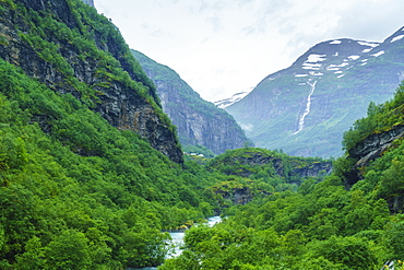 River valley and waterfall near Flam, Norway, Scandinavia, Europe