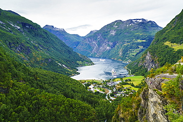 High view of Geiranger and Geirangerfjord, UNESCO World Heritage Site, Norway, Scandinavia, Europe