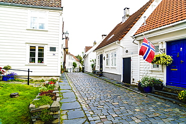 Old Stavanger (Gamle Stavanger) comprising about 250 buildings dating from early 18th century, mostly small white cottages, Stavanger, Rotaland, Norway, Scandinavia, Europe