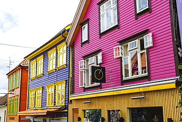 Ovre Holmegate, a colourful street of shops and cafes in the centre of Stavanger, Norway, Scandinavia, Europe