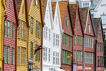 The wooden Hanseatic merchants buildings of the Bryggen, an ancient fjordside wharf, now a major tourist attraction, UNESCO World Heritage Site, Bergen, Norway, Scandinavia, Europe