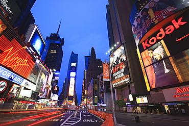 Times Square at dusk, Manhattan, New York City, New York, United States of America, North America