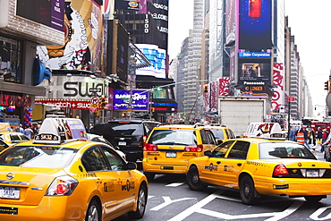 Taxis and traffic in Times Square, Manhattan, New York City, New York, United States of America, North America