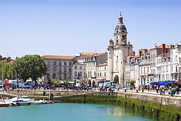 The Great Clock Tower by the harbour, La Rochelle, Charente-Maritime, France, Europe