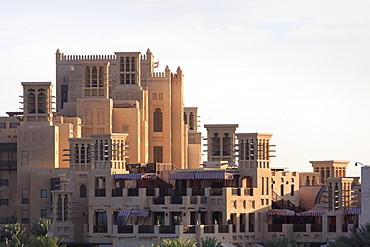 Arabesque architecture of the Madinat Jumeirah Hotel, Jumeirah Beach, Dubai, United Arab Emirates, Middle East