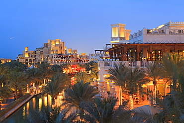 Arabesque architecture of the Madinat Jumeirah Hotel at dusk, Jumeirah Beach, Dubai, United Arab Emirates, Middle East