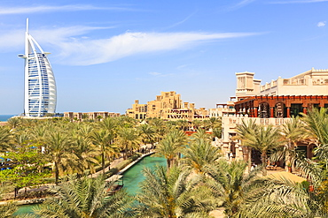 Burj Al Arab and Madinat Jumeirah Hotels, Dubai, United Arab Emirates, Middle East