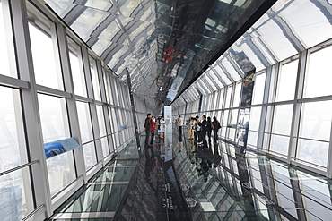 The observation bridge with glass floor on the 94th floor of the Shanghai World Financial Center (SWFC), Pudong, Shanghai, China, Asia