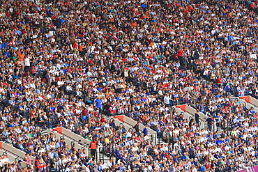 Large crowd of spectators in the Olympic Stadium for 2012 Olympic Games, London, England, United Kingdom, Europe