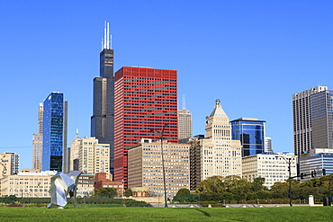 Tall buildings including the Willis Tower, formerly the Sears Tower from Grant Park, Chicago, Illinois, United States of America, North America