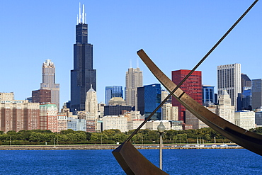 Chicago cityscape from Lake Michigan, the Adler Planetarium Sundial in the foreground with the Willis Tower, formerly the Sears Tower, beyond, Chicago, Illinois, United States of America, North America