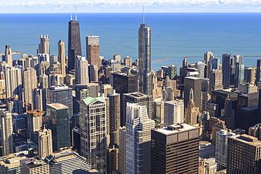 Chicago cityscape and Lake Michigan, Hancock Center and Trump Tower, Chicago, Illinois, United States of America, North America