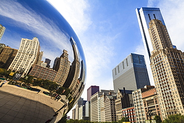 Tall buildings on North Michigan Avenue reflecting in the Cloud Gate steel sculpture by Anish Kapoor, Millennium Park, Chicago, Illinois, United States of America, North America