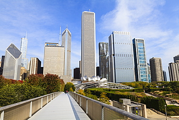 Skyscrapers including the Aon Center viewed from Millennium Park, Chicago, Illinois, United States of America, North America