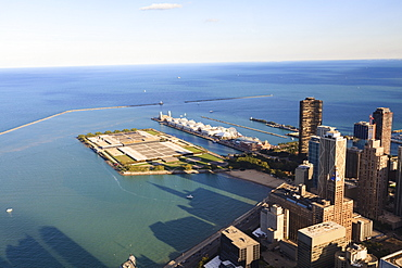 High angle view of Lake Michigan from the Hancock Center, Navy Pier and Milton Lee Olive Park in the centre, Chicago, Illinois, United States of America, North America