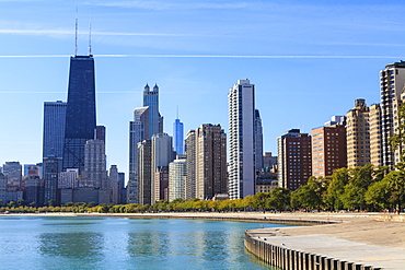 Chicago cityscape from North Avenue Beach, John Hancock Center on the left, Chicago, Illinois, United States of America, North America