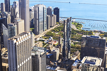 High angle view of Millennium Park and Lake Michigan, Chicago, Illinois