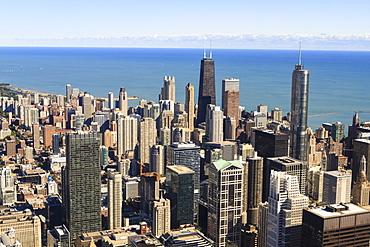 Chicago city skyline and Lake Michigan, Chicago, Illinois, United States of America, North America