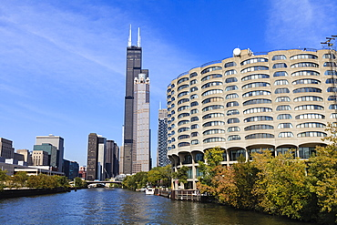 The south branch of the Chicago River, Willis Tower, formerly Sears Tower, in the centre, Chicago, Illinois, United States of America, North America