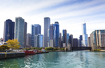 City skyline from the Chicago River, Chicago, Illinois, United States of America, North America