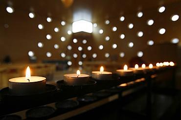 Candles in Christus Hoffnung der Welt church, Vienna, Austria, Europe