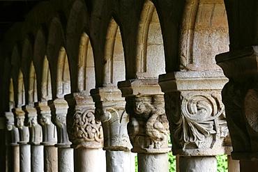 Santillana del Mar Collegiate Church cloister, Santillana del Mar, Cantabria, Spain, Europe