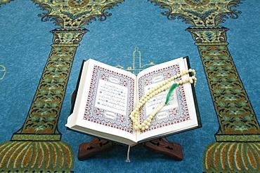 Koran and prayer beads, Lyon, Rhone, France, Europe