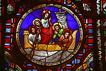 Stained glass window of the miracle of fishing, Lyon, Rhone, France, Europe