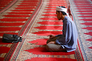 Indonesian visitor at Sultan Hassan mosque, Cairo, Egypt, North Africa, Africa