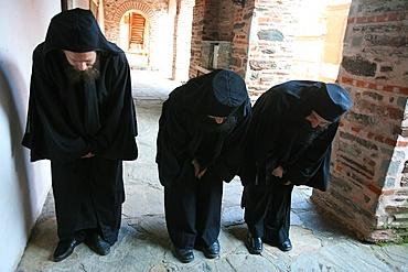 Prosternation at Koutloumoussiou monastery on Mount Athos, Greece, Europe
