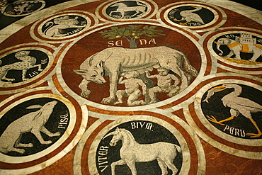 Romulus and Remus in marble work in the Duomo di Sienna, Siena, Tuscany, Italy, Europe