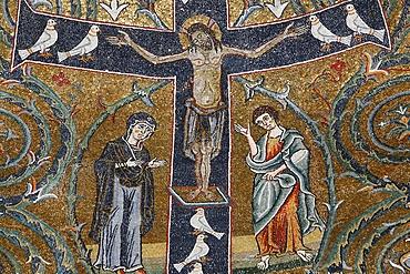 The 12th century fresco of Christ's triumph on the cross in San Clemente basilica, Rome, Lazio, Italy, Europe