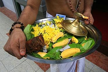 Offerings on tray, Sri Maha Mariamman temple, Kuala Lumpur, Malaysia, Southeast Asia, Asia