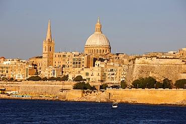 St. Pauls Cathedral and Carmelite Church in Valletta, Malta, Mediterranean, Europe